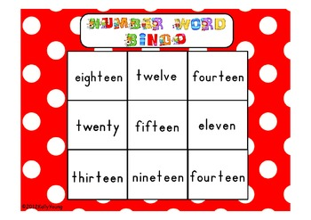 Number Word Bingo Game Cards zero to twenty