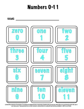 Number Word Cards and Math Word Wall Cards