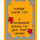 Number Words 1-20 Differentiated Activity for a Math Center