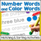 Number Words &amp; Color Words: Sorting and Matching Activities