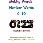 Number Words, Identification, & Matching sets Math activit