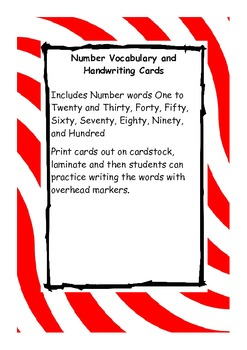 Number Words Spelling and Handwriting Practice Cards