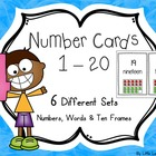 Number cards 1-20: numbers, words & ten frames (5 different sets)