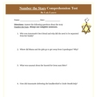 Number the Stars Reading Comprehension Test with Answer Key