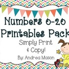 Numbers 0-20 Printables Pack {Simply Print and Copy!}