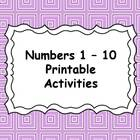 Numbers 1-10 Activities and Math Centers