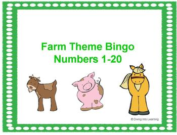 Numbers 1-20 Bingo: Farm Theme