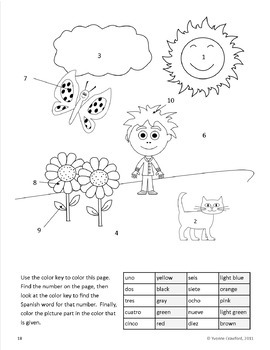 Numbers in Spanish vocabulary sheets, worksheets and memory game