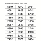 Numbers in the Thousands - place value
