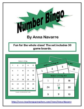 Numbers to 30 Bingo Game w/30 Boards