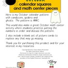 OCTOBER  Calendar Squares and Math Patterning Pieces