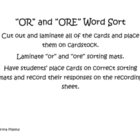OR and ORE Word Sort