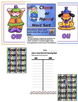OU or OW Word Sort