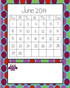 OWL Themed Teacher Notebook Dividers w/ Matching Calendar Pages