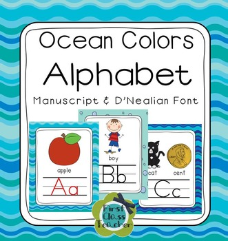 Ocean Colors Alphabet Poster Card & Picture Letter Sound Pack