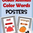 Ocean Animals Color Words Poster Set