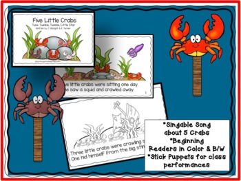 Ocean Crabs!  Five Little Crabs -Shared Reading Singable