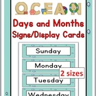 Ocean Days of the Week & Months of the Year Signs / Word W