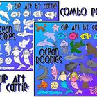 Ocean Doodles clip art (combo BW &amp; Color PNG)