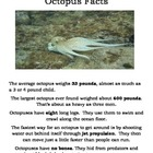Ocean - Octopus Facts & Multiple Choice Answer Worksheet