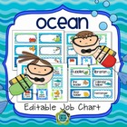 Ocean Theme Classroom Job Chart (Editable)