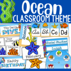 Ocean-Themed Classroom Decor and Organizational Pack