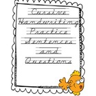Ocean Themed Cursive Practice Sentences and Questions
