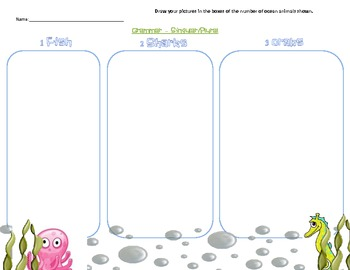 Ocean Themed - Singular/Plural Graphic Organizer Picture Draw