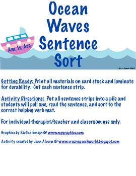 Ocean Waves Sentence Sort (Helping Verbs)