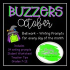October Buzzer Packet (Bell Work-Journal) Common Core Writ