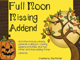 October Full Moon Missing Addend Math Center Activity