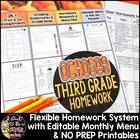 October Homework Menu Pack-Editable & Differentiated for E