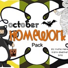 October Homework Pack for Kindergarten