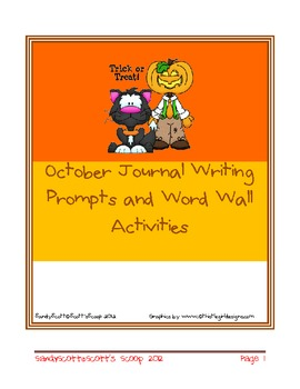 October Journal Writing and Word Wall Activities