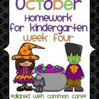 October Kindergarten Common Core Homework WEEK FOUR