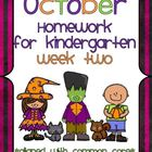 October Kindergarten Common Core Homework WEEK TWO