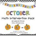 October Math Intervention Pack