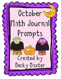 October Math Journal Prompts- Kindergarten C.C.