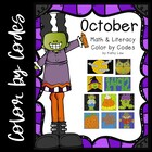 October Math &amp; Literacy Color by Codes