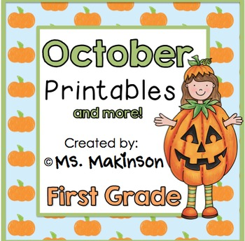 October Printable Packet - First Grade Literacy, Math, and Science