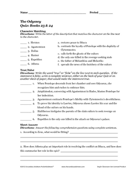Odyssey Books 23 & 24: Study Questions, Theme Activity, and Quiz
