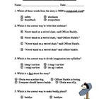 Officer Buckle and Gloria ~ Language Arts Test/Quiz