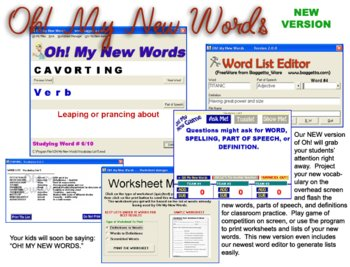 Oh! My New Words (Computer or Whiteboard Vocabulary Display)
