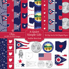 Ohio Clip Art and Digital Paper with Flag, Seal, Quarter f