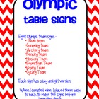 Olympic Themed Table Signs