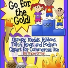 Olympics Clip Art Graphics: Medals, Ribbons, Torch, Rings, & More
