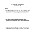 On Writing by Stephen King: 8-page Study Guide Packet for