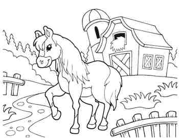 On the Farm Coloring Book - pig, barn, horse, cow, sheep