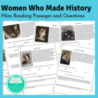 One Page Reading Practice: Women Who Made History