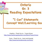 Learning Goals Ontario Gr 3 Reading
